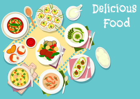 cream cheese: Italian and french cuisine icon of chicken soup with pasta, tomato pasta soup, beef steak with vegetables, egg with ham, salmon cream soup, egg with tomato sauce, egg cheese crostini, kiwi panna cotta