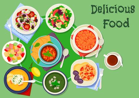 Greek cuisine soup and salad dishes icon. Vegetable and grapefruit salads with cheese, lemon rice soup, baked eggplant salad, pilaf, cucumber soup, bean warm salad, fruit dessert lokum Ilustração