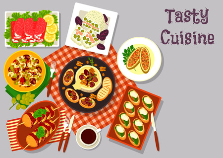 Snack food for lunch menu icon of ham roll with seafood, cheese snack with salmon, potato and bacon skewer, fruit salad with grape, pork sandwich, baked cheese with honey and nut, stuffed pickles Illustration