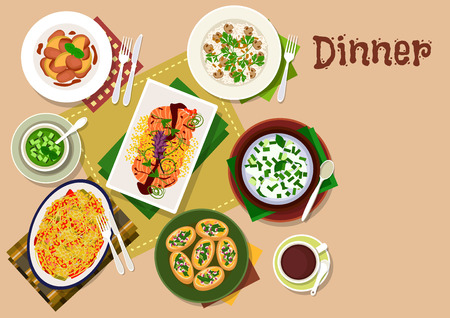 cucumber salad: Festive dinner menu icon of chicken liver with apple and ginger sauce, mushroom rice, vegetable salad with salmon, pumpkin bruschetta, yogurt rice soup, cucumber soup, bulgur casserole with cheese Illustration