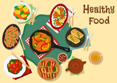 Savory dishes of fried fish and korean grilled meat icon with salmon in cheese and potato batter, fried perch, pork chop with rice, grilled chicken and beef with mushroom, pepper, tomato and broccoli Stock Vector - 67604502