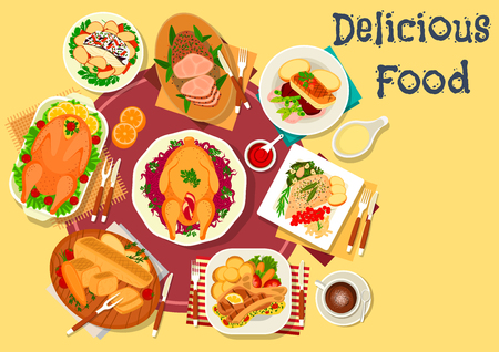 Meat and fish dishes for dinner icon of baked goose with vegetable, fruit and nut stuffings, fish with beet, asparagus and chilli, pork loin and lamb ribs with spices, turkey with potato Illustration