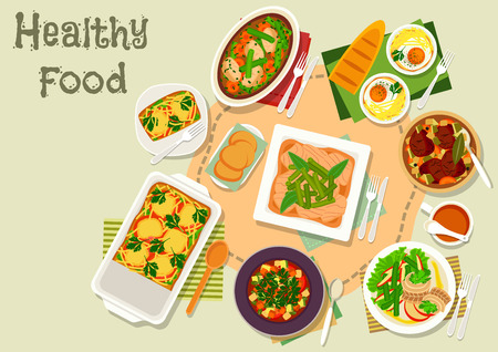 Green bean and egg dishes icon with vegetable meat soup and stew, baked egg with cheese and ham, pasta bean casserole with meat and tomato, bean herring salad, vegetarian soup Illustration