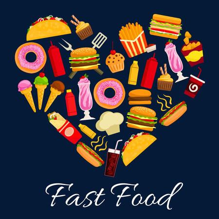 Fast food cuore simbolo di icone vettoriali piane di cheeseburger, pizza e burrito, patatine fritte con nachos chips. manifesto da asporto con pasto caldo cane, soda drink e gelati, popcorn, tacos e ciambelle, bevande, dessert, milk shake