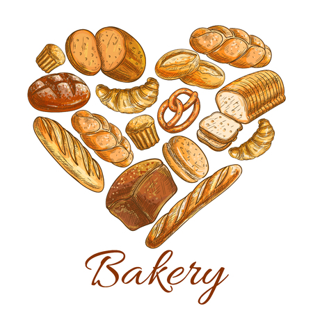 patisserie: Bakery heart symbol of sketched wheat and rye bread loaf, bagel, croissant, pretzel, sweet bun, cinnamon roll, muffin, dessert pie. Bakery shop, pastry, patisserie or grocery vector poster