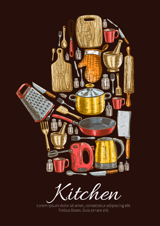 cutting board: Kitchen utensils and kitchenware poster in shape of cooking glove. Vector symbol of sketch dishware grater, mixer, saucepan, frying pan, cooking glove and cup, electric kettle and mortar, cup and salt, cutting board and fork, hatchet and pepper, spatula,