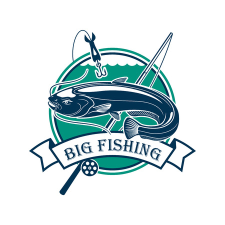 river water: Fishing club emblem. Vector fisherman sport adventure sign with circle badge and big catfish or eel fish caught on fishing rod with floats and hooks in river water with ribbon design