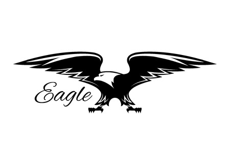 American Eagle isolated emblem. Vector symbol of black griffin, falcon or hawk. Heraldic signor icon of predatory bird with spread wings and catching claws for sport team mascot, military, security or guard emblem for armory shield