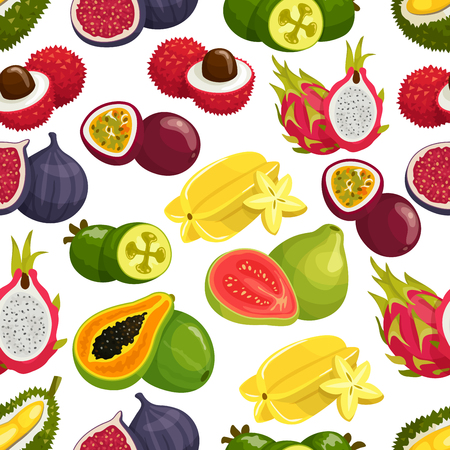 Tropical fruits pattern of orange, papaya, durian and guava, carambola and dragon fruit, lychee and feijoa, passion fruit maracuya, longan and figs, rambutan, mangosteen. Vector seamless background of tropical fruits harvest