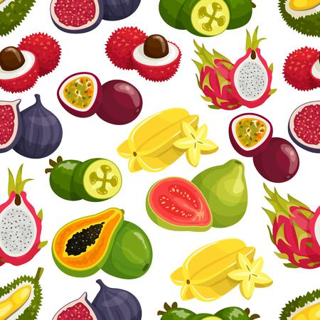 rambutan: Tropical fruits pattern of orange, papaya, durian and guava, carambola and dragon fruit, lychee and feijoa, passion fruit maracuya, longan and figs, rambutan, mangosteen. Vector seamless background of tropical fruits harvest