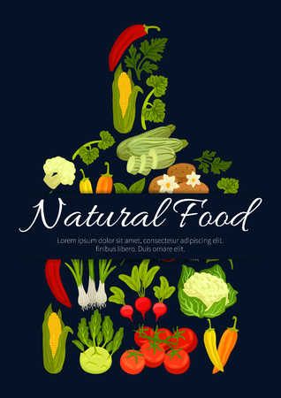 Vegetables, veggies and greens in shape of cutting board with cauliflower, kohlrabi and broccoli cabbage, corn with potato, beet, carrot and radish, parsley, broccoli, pea and pepper, cucumber and tomato. Vector poster Illustration