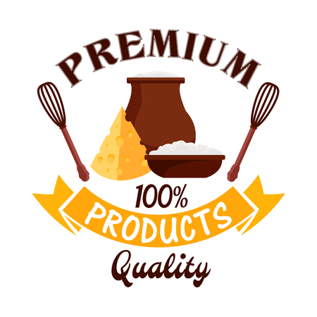 Fresh milk, cottage cheese curd, cheese. Dairy farm products vector emblem. Isolated icon or badge with pitcher, sour cream jar, milk curd, cottage cheese for farm market or grocery store sign