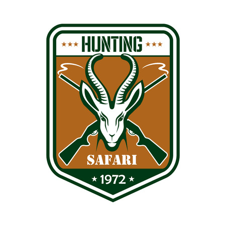 horny: Safari Hunting emblem. Vector isolated shield square shape icon or badge with African gazelle or saiga antelope in savanna and ribbon. Hunter sport adventure club symbol or icon