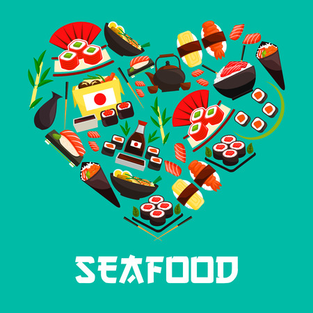 Seafood in heart shape poster. Vector symbol designed of Japanese cuisine food with sushi shrimp rolls, salmon sashimi on steamed rice and seafood wok, teapot, seaweed with wasabi and soy sauce, oriental bento lunch box, chopsticks