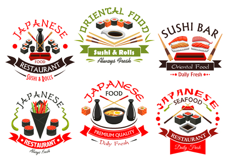 Japanese seafood emblems. Oriental cuisine vector signs with sushi shrimp rolls, salmon sashimi, steamed rice and miso soup bowl, seaweed, wasabi, soy sauce bottle, chopsticks and ribbons for sushi bar menu