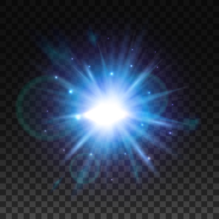 sun beam: Flash burst of star light with blur and lens flare effect. Shining sun glow. Sparkling light of sun rays on transparent background. Neon blue and purple beam explosion radiance