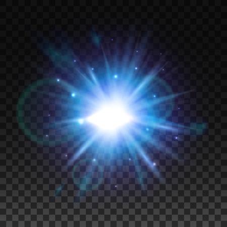 Flitsstoot van sterrenlicht met onscherpte en lensflare-effect. Lichtende zon gloeit. Fonkelend licht van zonnestralen op transparante achtergrond. Neon blauwe en paarse straal explosie uitstraling Stock Illustratie