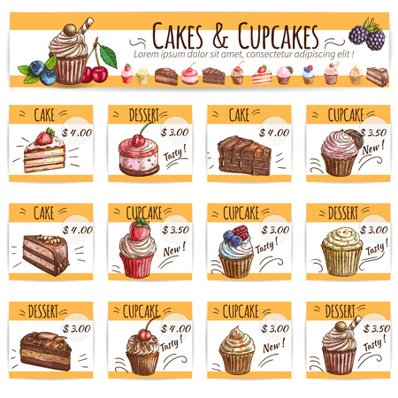 bakery price: Desserts, cakes, cupcakes price cards set. Vector banner with sketch fruits and berry cakes, chocolate muffin, creamy pie, souffle cupcake, sweet biscuit mousse. Dessert menu for bakery shop, cafe, cafeteria, patisserie Illustration