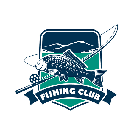 bobber: Fishing club sign or emblem. Fisherman sport adventure badge with vector shield shape symbol, fishing rod with float and hook, big carp of tuna fish in river water with blue ribbon design Illustration