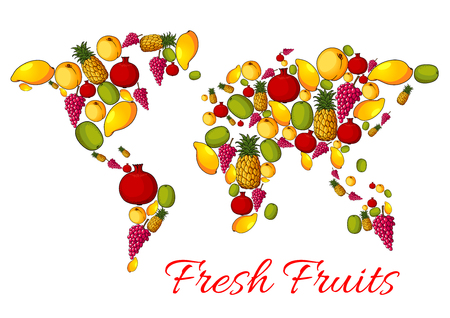 grape fruit: Fruits combined in world map shape with continents of ripe fruit harvest. Vector fresh apple, apricot and peach, tropical sweet mango and exotic kiwi with pineapple, red grape and juicy pomegranate