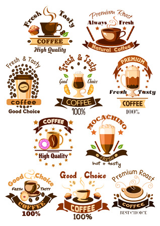 cocktail drink: Coffee emblems and signs set. Mug of hot arabica espresso, cappuccino or moka latte, iced coffee drink cup, milk shake cocktail, biscuit and chocolate muffin dessert. Vector isolated icons, ribbons, coffee beans and stars for cafe, cafeteria design