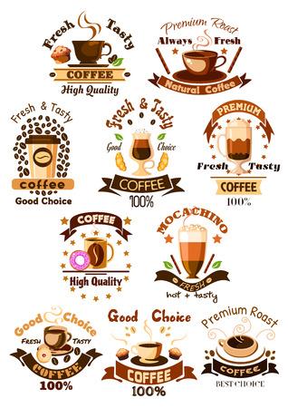 Kaffee Embleme und Zeichen gesetzt. Becher heiße Arabica Espresso, Cappuccino oder Latte Macchiato Moka, Eiskaffee trinken Tasse, Milchshake Cocktail, Keks und Schokolade Muffin Dessert. Vektor-Icons isoliert, Bänder, Kaffeebohnen und Sterne für Cafe, Cafeteria Design