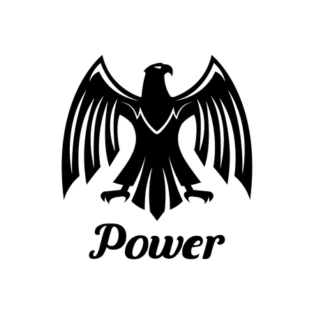 clutches: Eagle isolated vector emblem. Heraldic gothic falcon predatory bird symbol or icon with open spread wings and sharp clutches. Hawk sign for sport team mascot, shield emblem, army, military, security coat of arms Illustration