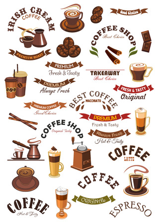 espresso cup: Coffee shop isolated signs, emblems and ribbons. Vector icons of hot espresso cup, roasted coffee beans grinder, cappuccino or moka latte mug, cinnamon with chocolate, creamy moka, biscuit and chocolate dessert. Vector badges for cafe, cafeteria