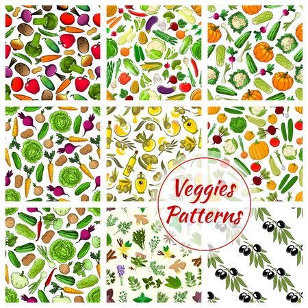 pumpkin tomato: Pattern of vegetables, spicy herbs and herbal spices. Vector veggies cauliflower, garlic and potato, corn and olive oil cabbage, pumpkin, tomato and pepper, broccoli and eggplant, carrot. Aroma rosemary and oregano, mint and cinnamon, vanilla, anise and g Illustration