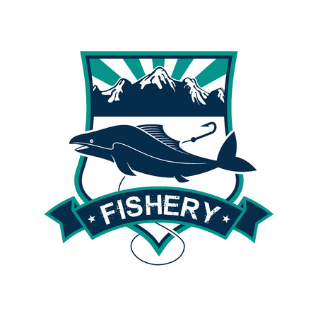 sturgeon: Fishery emblem. Vector badge or sign for fish and seafood industry. Isolated badge with fishing rod, fish on hook, sea water. Fishing sport adventure club icon