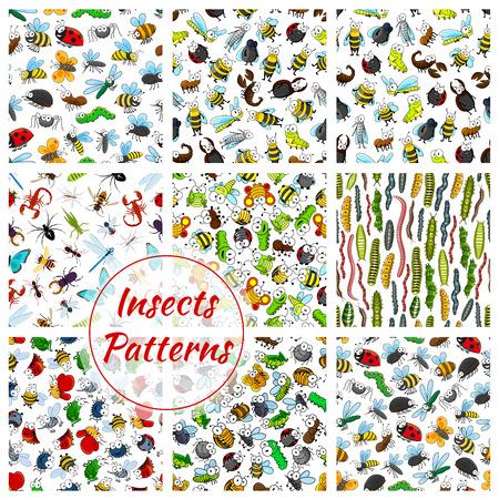 Los insectos y los patrones de insectos fijados. De dibujos animados abeja sonriente, gusano y el escarabajo, avispa abejorro, mariposa y volar, Chafer, saltamontes o grillo, avispa con la oruga y la mariquita, el escorpión y la araña, hormigas y mosquitos. Fondo inconsútil del vector Foto de archivo - 69787039