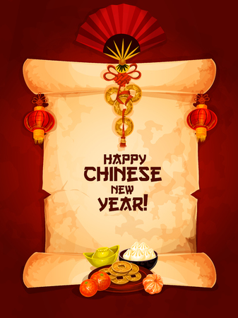 Happy Chinese New Year wishes on old paper scroll with hanging red lantern and fan with chinese knot ornament and mandarin orange with gold ingot and dumplings. Spring Festival greeting card design