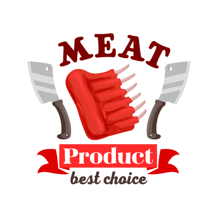 raw beef: Meat icon for butcher shop sign or emblem of fresh pork, mutton or beef meat ribs. Vector meat steak with knives or hatchets and ribbon. Raw tenderloin filet, bacon sirloin, T-bone meaty chop slice for steak house restaurant and butchery farmer shop