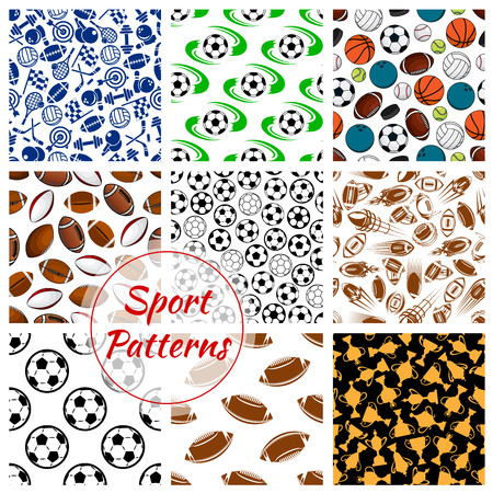 seamless patterns: Sport patterns set of balls and sports gaming items of soccer football, volleyball and basketball, rugby and bowling, tennis rackets, skates darts and hockey puck, fitness dumbbells with gold cup awards. Vector seamless background