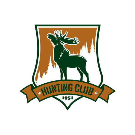 Hunting sport sign. Vector badge or emblem for hunters club. Vector isolated shield or icon with mountain elk antler or forest deer and green ribbon. Winter hunt adventure club symbol