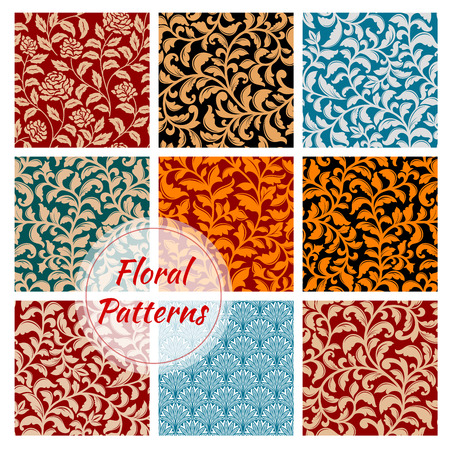Floral patterns set. Seamless flourish ornate tiles with flowery damask, rococo or baroque ornaments. Luxury flowery motif embellishment backdrops for interior decor design