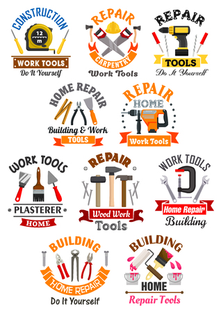 building safety: Repair, construction, building, carpentry emblems with work tools icons. measure tape and screwdriver, safety helmet and ax, electric drill and pliers, paint brush and plaster trowel, hammer and vise with spanner. Vector badges or ribbon symbols Illustration