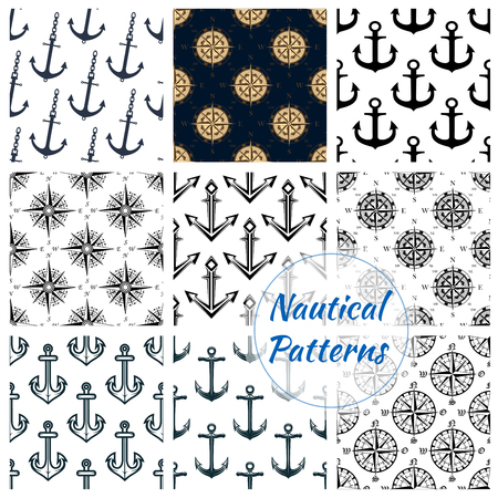 marine ship: Nautical patterns set of blue anchor, ship helm, navigation compass and wind rose symbol. Heraldic maritime items tile design of marine and sailor vessel naval equipment. Vector seamless background