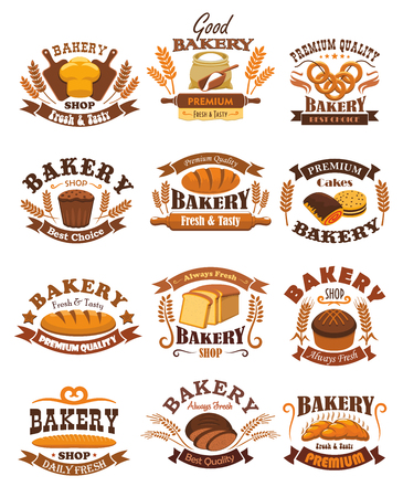 flour: Bakery emblems set. Signs or badges of wheat and rye bread bricks and loafs, french baguette and bagels, flour sack with rolling pin and dough, sweet buns and pies. Vector isolated icons for baker shop, pastry