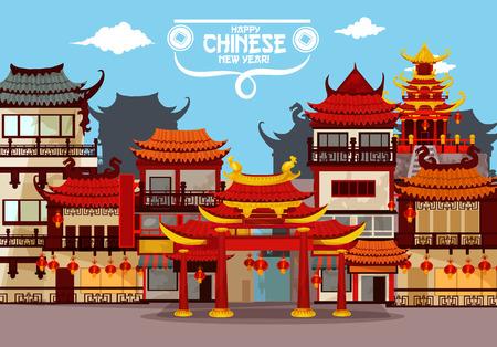 Biglietto di auguri di Capodanno cinese felice con città festosa. Paesaggio tradizionale cinese di strada con pagoda e cancello, decorato da lanterne di carta rossa. Progettazione manifesto poster vacanza primavera feste di primavera