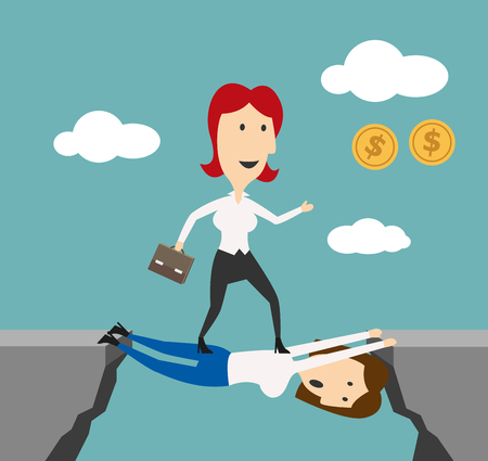 job promotion: Woman manager overstep colleague to achieve money goals or career success. Business metaphor of doing elbow work or walking over heads and stepping over people for successful job promotion, financial wealth or leadership achievement