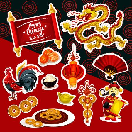 chinese new year dragon: Chinese New Year symbol sticker set. Red lantern, Chinese New Year rooster, lucky coin, dragon, mandarin fruit, god of prosperity with paper scroll, folding fan, dumpling and ancient gold ingot Illustration