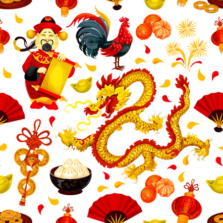 Chinese New Year of Rooster seamless pattern of zodiac cock, red lantern, fortune coin, dragon, mandarin orange, god of wealth with scroll, gold ingot, festive food, firework. Spring Festival design Illustration