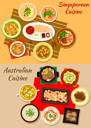 Singaporean and australian cuisine icon with chicken rice, baked salmon, seafood and meat soups, grilled and boiled beef, meat roll, noodles with dumplings, vegetable salad and fruit dessert