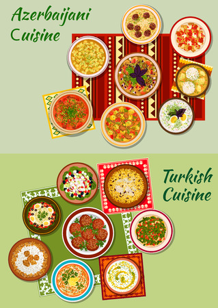 chicken rice: Turkish and azerbaijani cuisine icon with meat and fish balls, vegetable and bean salads, pilaf, boiled lamb and chicken, thick stew, meat and dumpling soups, cold yogurt and rice mint soups