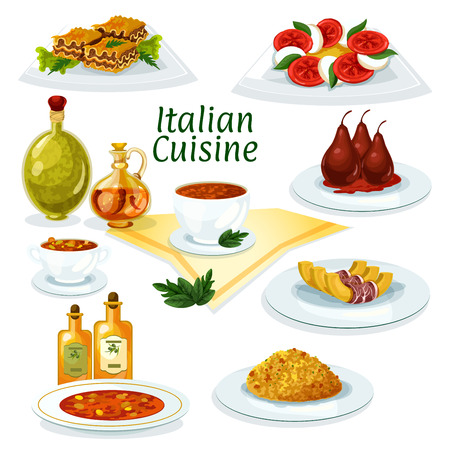 Italian cuisine cartoon icon with lasagna, risotto, pasta soup minestrone, mozzarella, tomato and basil salad caprese, baked pumpkin with bacon, pear dessert with red wine