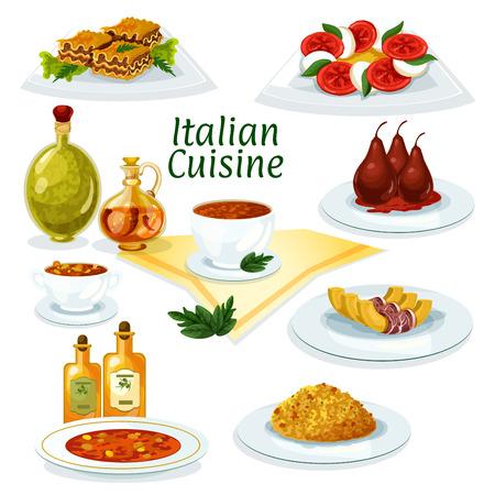 Italiana icono de la cocina de dibujos animados con lasaña, risotto, sopa de pasta minestrone, mozzarella, ensalada de tomate y albahaca, calabaza al horno con tocino, pera postre con vino tinto Foto de archivo - 68739377