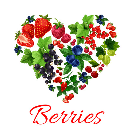 sweet heart: I love berries emblem in heart shape. Vector label of fresh sweet garden fruit berries. Strawberry, blueberry, gooseberry, black and red currant, cherry, raspberry, dog-rose fruits