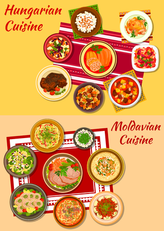 Hungarian and moldavian cuisine icon with rich meat and vegetable stews, baked pork, stuffed papper, noodles, dumpling and vegetable salads, chicken paprikash and roll, noodle and bean soups Ilustracja