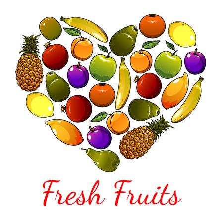 sign orange: Fruits heart symbol of banana, avocado and orange, lemon, apple, mango, plum, pomegranate, pear and apricot, kiwi. Fresh fruits sign of tropical and exotic fruit pattern